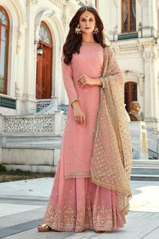 Blush Pink Indian Designer Georgette Palazzo Suit