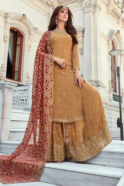 Tan Georgette Palazzo Suit with Beautiful Zari Embroidery