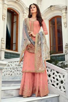 Peach Georgette Palazzo Suit with Beautiful Zari Embroidery