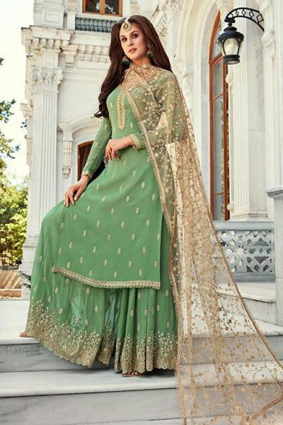 Green Georgette Palazzo Suit with Beautiful Zari Embroidery