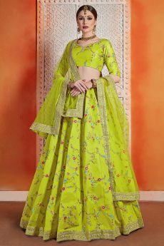 Neon Green Silk Indian lehenga with Net Dupatta