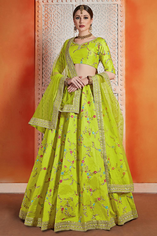 Neon Green Silk Indian lehenga with Net Dupatta