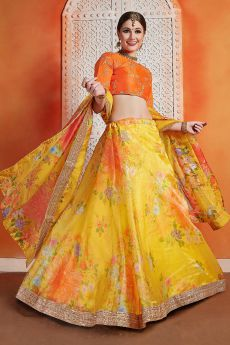 Yellow Floral Printed Silk Indian Lehenga