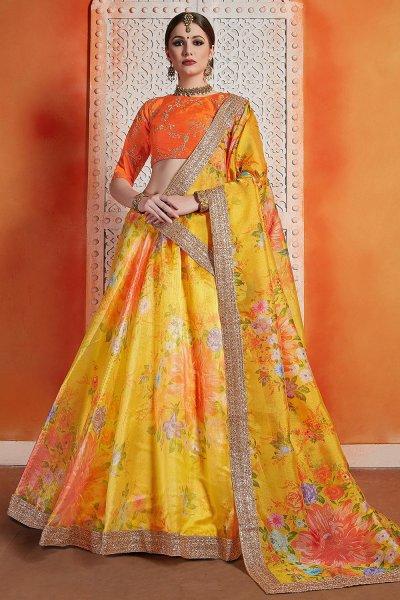 Yellow Floral Printed Silk Indian Lehenga