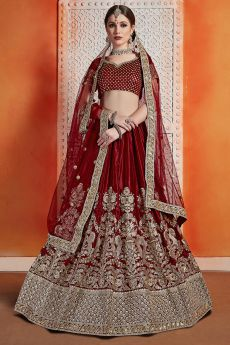 Maroon Velvet Lehenga with Beautiful Embroidery