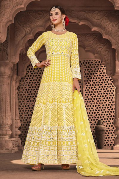 Ready to Wear Bright Yellow Lucknowi Embroidered Indian Suit