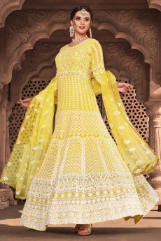 Bright Yellow Lucknowi Embroidered Indian Suit