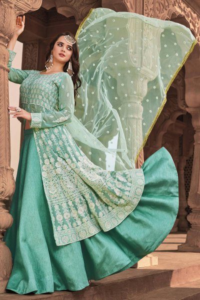 Pastel Turquoise Lucknowi Embroidered Party Wear Lehenga