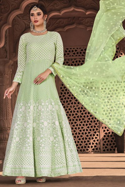 Pastel Green Lucknowi Embroidered Indian Suit