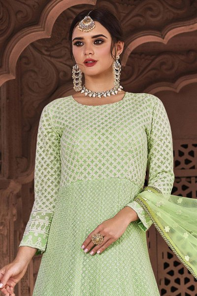Ready to Wear Pastel Green Lucknowi Embroidered Indian Suit