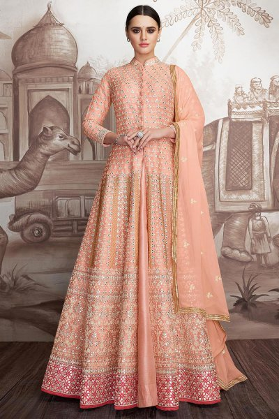 Peach Heavy Embroidered Partywear Anarkali