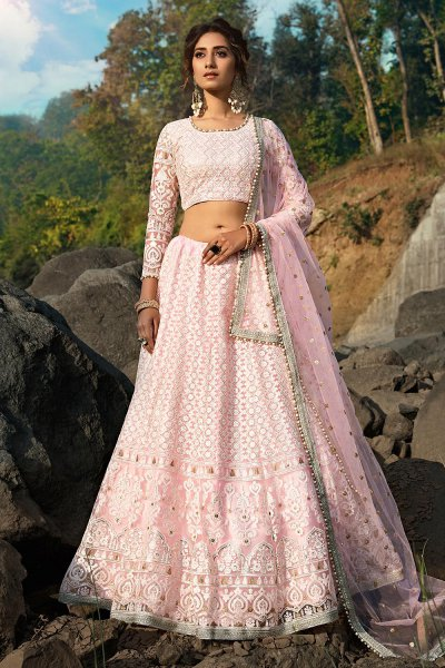 Baby Pink Beautiful Embroidered Indian Lehenga