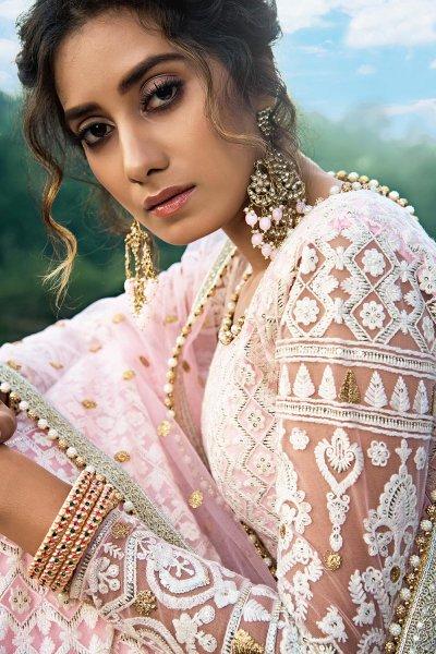 Baby Pink Beautiful Embroidered Indian Lehenga