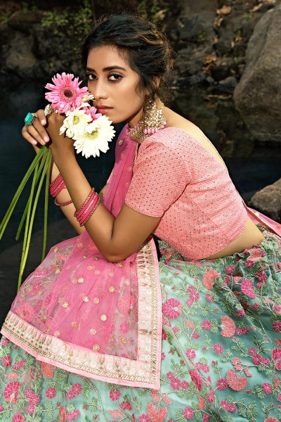 Pink and Cyan Designer Lehenga with Beautiful Embroidery
