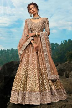 Light Brown Designer Party Wear Lehenga