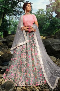 Pink and Grey Designer Lehenga with Beautiful Embroidery