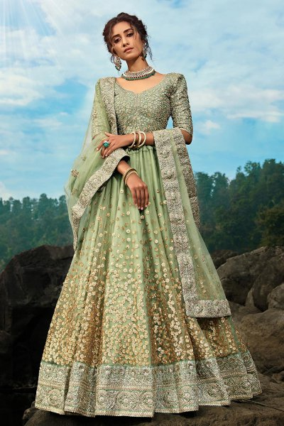 Pista Green Designer Party Wear Lehenga
