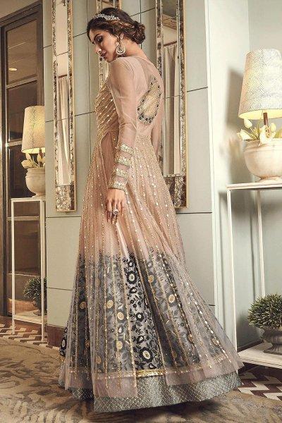 Beige Zari Embroidered Anarkali Suit