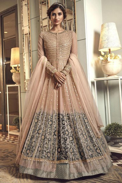 Beige Zari Embroidered Anarkali Suit