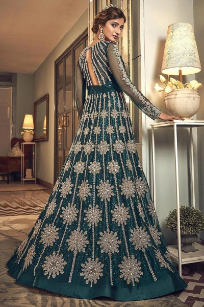 Bottle Green Embroidered Indian Suit