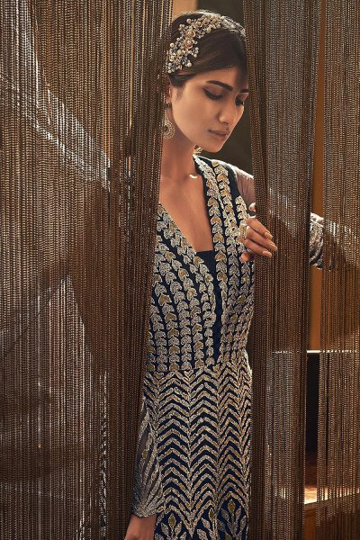 Navy Blue Zari Embroidered Indian Designer Suit