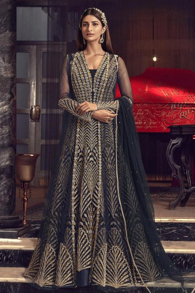 Navy Blue Zari Embroidered Indian Designer Suit