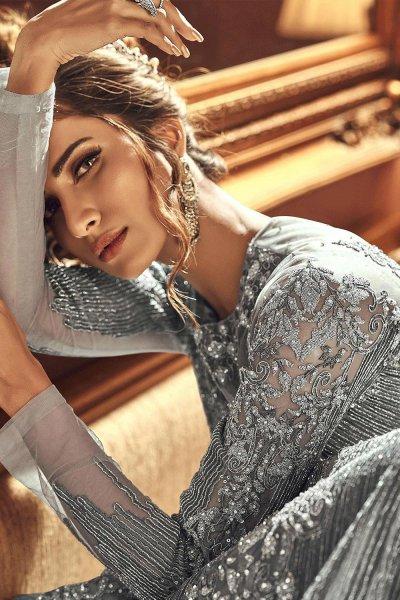 Grey Embellished Indian Designer Suit