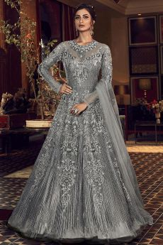 Grey Embellished Indian Designer Suit