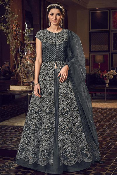 Metallic Grey Designer Anarkali with Lehenga/Pant