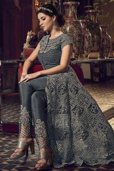 Metallic Grey Designer Anarkali with Lehenga/Pant