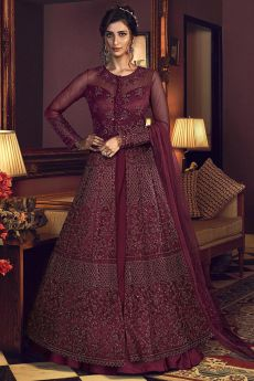 Burgundy Designer Anarkali with Lehenga/Pant
