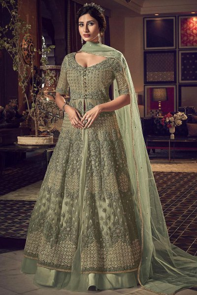 Pista Green Zari Embroidered Anarkali with Lehenga/Pant