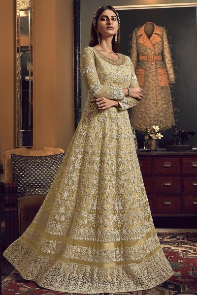 Beige Yellow Embroidered Anarkali Suit