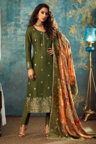 Olive Green Jacquard Silk Indian suit