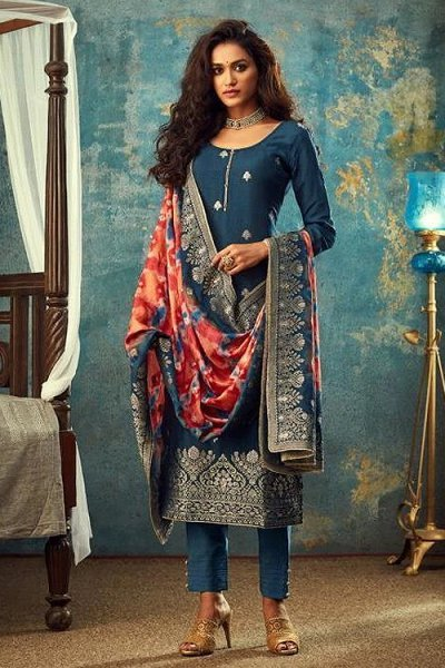 Blue Jacquard Silk Indian Suit