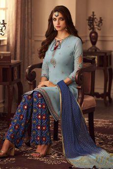 Designer Blue Silk Palazzo Suit