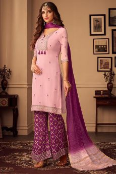 Pink and Purple Embroidered Palazzo Suit