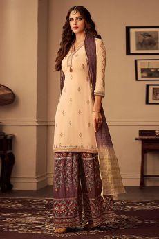 Designer Brown Silk Palazzo Suit