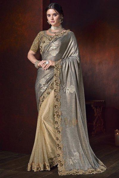 Beige and Grey Designer Indian Saree