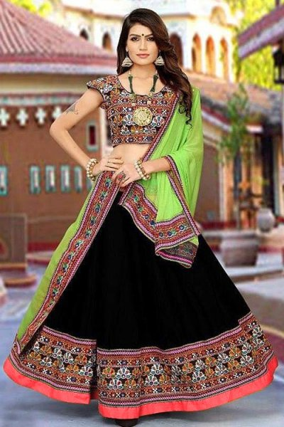 Black and Pistachio Green Embroidered Cotton Lehenga Choli