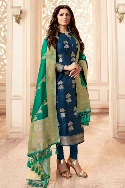 Blue and Green Banarasi Silk Salwar Kameez