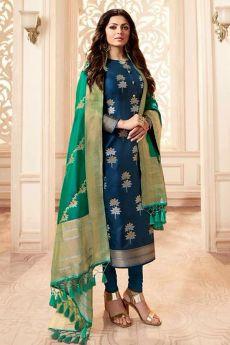 Blue and Green Banarasi Silk Salwar Kameez
