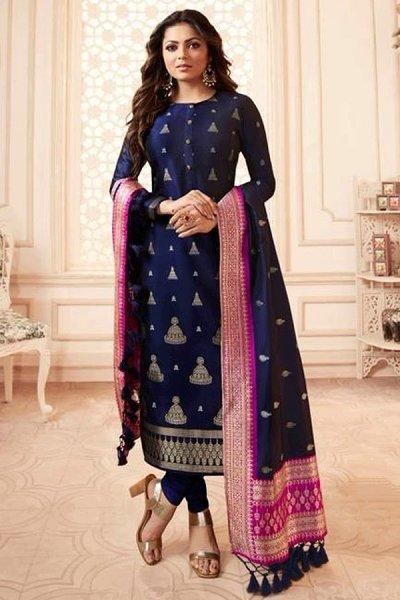 Navy Blue Banarasi Silk Salwar Kameez