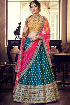 Multicolored Party Wear Silk Lehenga