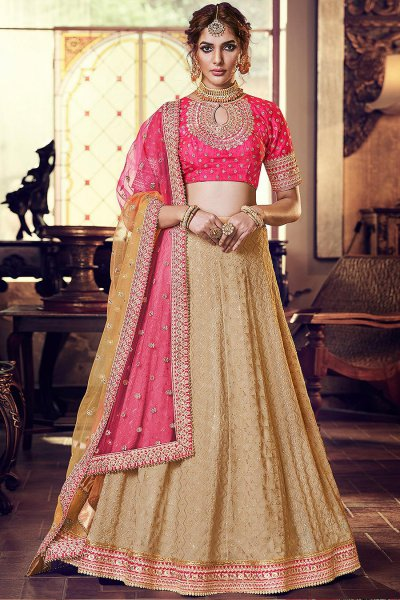 Pink and Beige Embellished Indian Lehenga