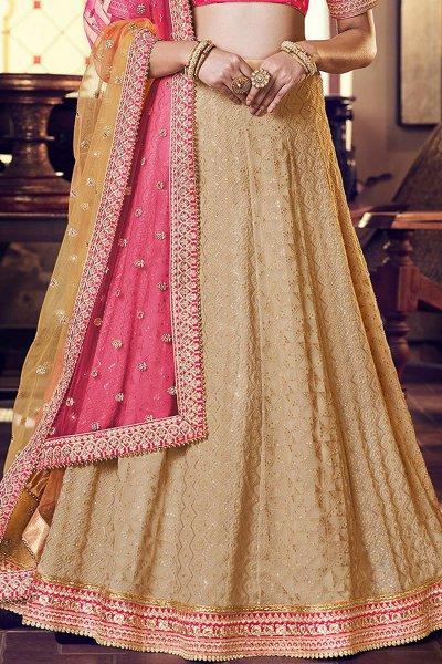 Pink and Beige Embellished Indian Lehenga