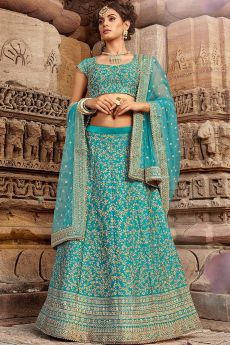 Blue Zari Embroidered Indian Lehenga
