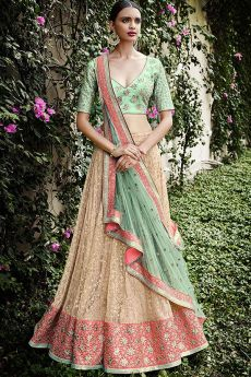 Beautiful Embroidered Indian Net Lehenga