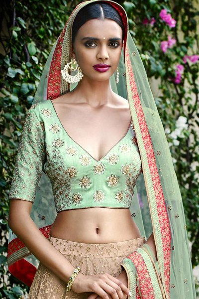 Beautiful Embroidered Indian Net Lehenga