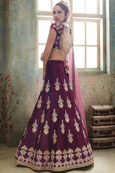 Purple Zari Embroidered Silk Indian Lehenga